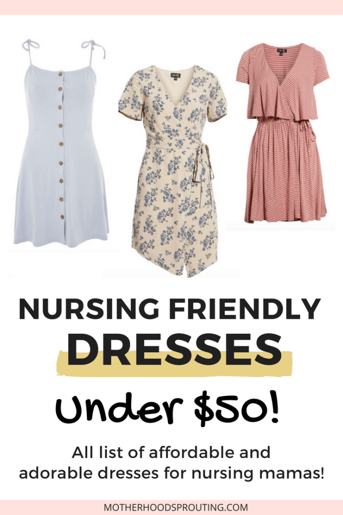 Nursing Friendly Dresses Under $50! Nursing friendly dresses that are cute and don't break the bank. Dresses that make breastfeeding easy in public and are also affordable! #motherhood #breastfeeding #nursingdresses #nursingfriendly #momstyle #dressesformothers