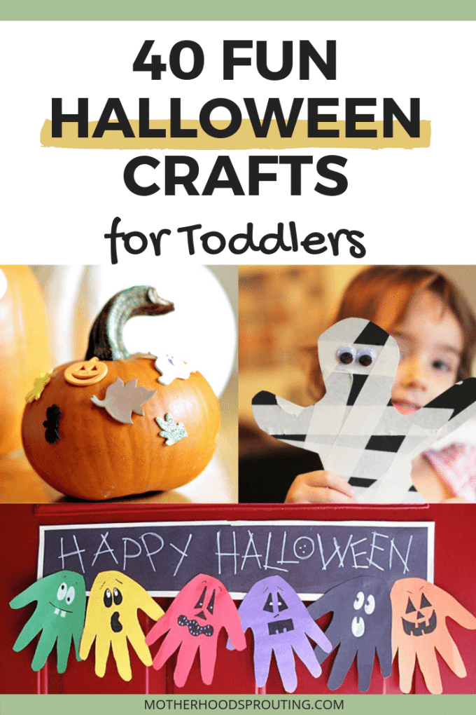 Check out these 40 fun Halloween crafts for toddlers! If you're looking for some easy Halloween crafts for kids, this post will give you tons of Halloween craft ideas for toddlers and preschoolers! These DIY Halloween crafts would make the most adorable Halloween decorations! #halloween #toddler #crafts #activities