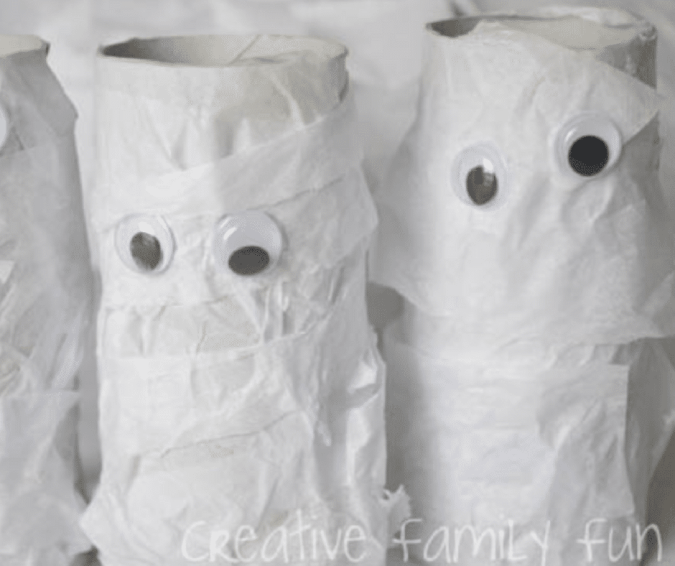Cardboard Tube Mummies - Halloween Crafts for Toddlers