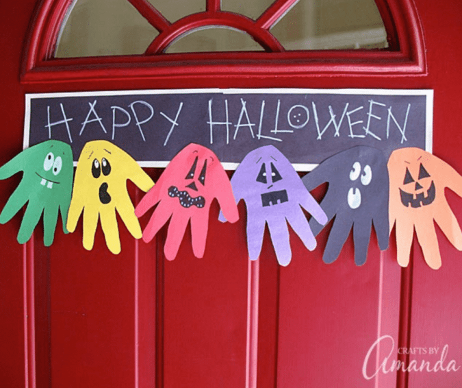 Halloween Handprint Ghoul Banner - Halloween Crafts for Toddlers