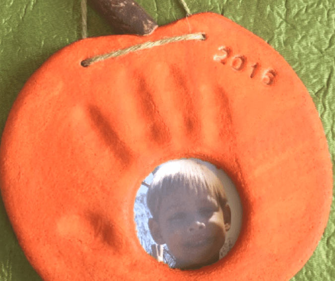 Pumpkin Handprint and Photo Keepsake - Halloween Crafts for Toddlers