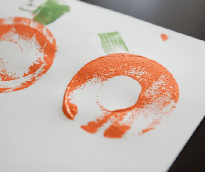 Pumpkin Printing with Pool Noodles - Halloween Crafts for Toddlers