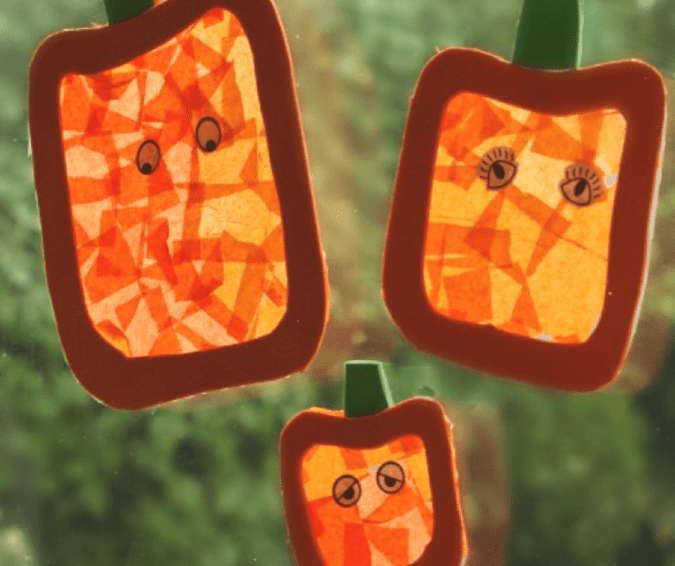 Stained Glass Pumpkin Decorations - Halloween Crafts for Toddlers