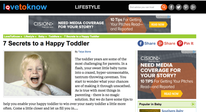 Lovetoknow happy toddler