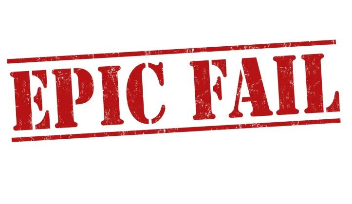 Epic fail grunge rubber stamp on white background, vector illustration