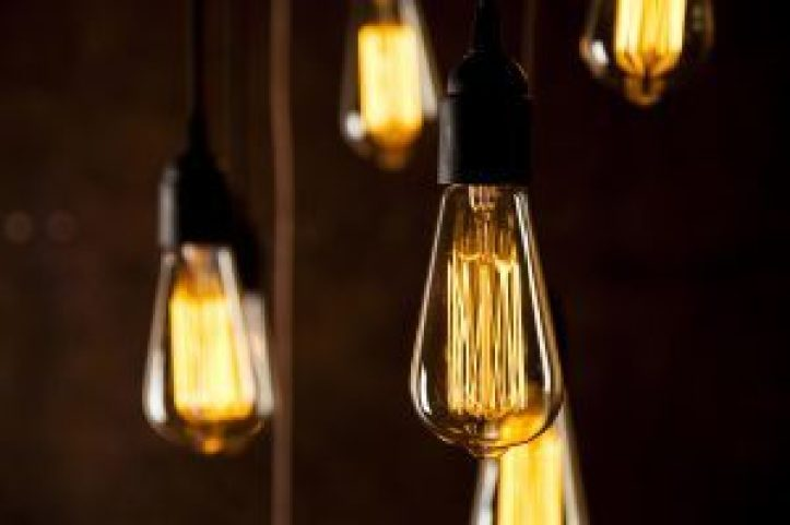 filament bulbs suspended from ceiling