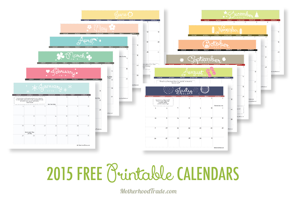 Free Printable Calendars  Tricks Of The Motherhood Trade