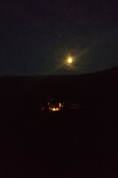 campfire and moonlight