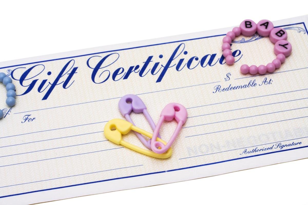 Baby shower gift certificate