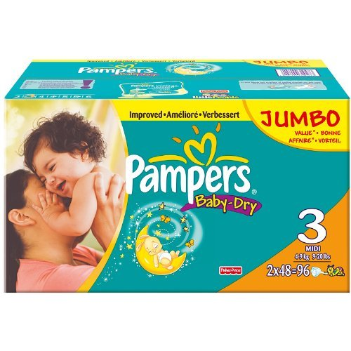 Pampers BabyDry Size 3 Midi Nappies 2 x Jumbo Packs