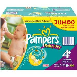 Pampers BabyDry Size 4 Maxi Plus Nappies 2 x Jumbo