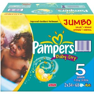 Pampers BabyDry Size 5 Junior Nappies 2 x Jumbo Packs