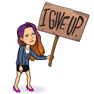 """Leci bitmoji looks dejected, holding a sign saying """"I give up"""". Christmas 2020 might be the worst Christmas ever."""