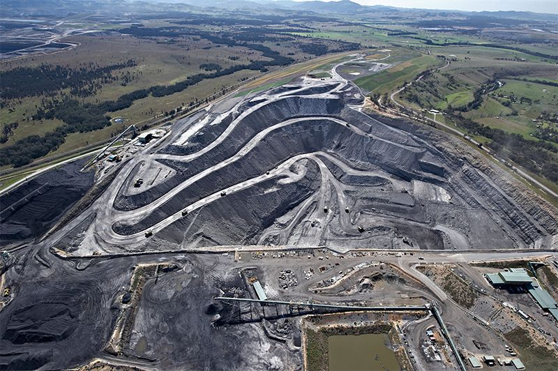 An open cut coal mine from above in Hunter Valley, NSW, Australia