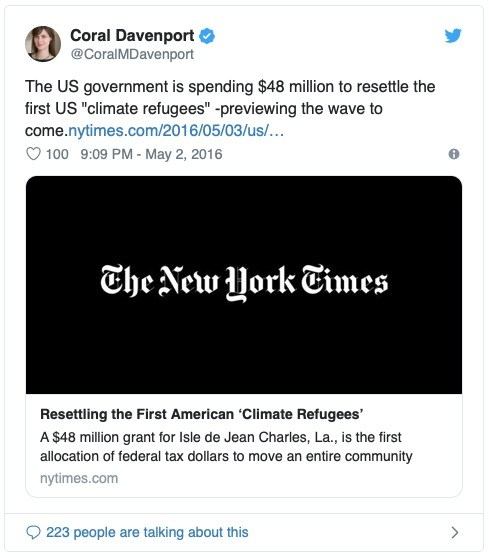 nytimes tweet climate refugees