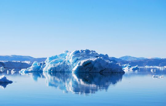 In iceberg near Greenland. Greenland is melting faster than scientists previously thought, a new study said.