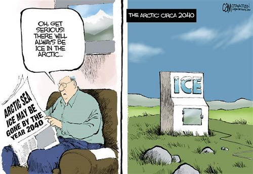 Toon of the Week - Arctic Sea ice may be gone by the year 2040. / Oh, get serious! There will always be ice in the Arctic. : The Arctic circa 2040.