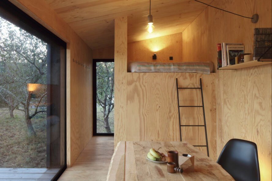 interior of cabin with natural wood walls