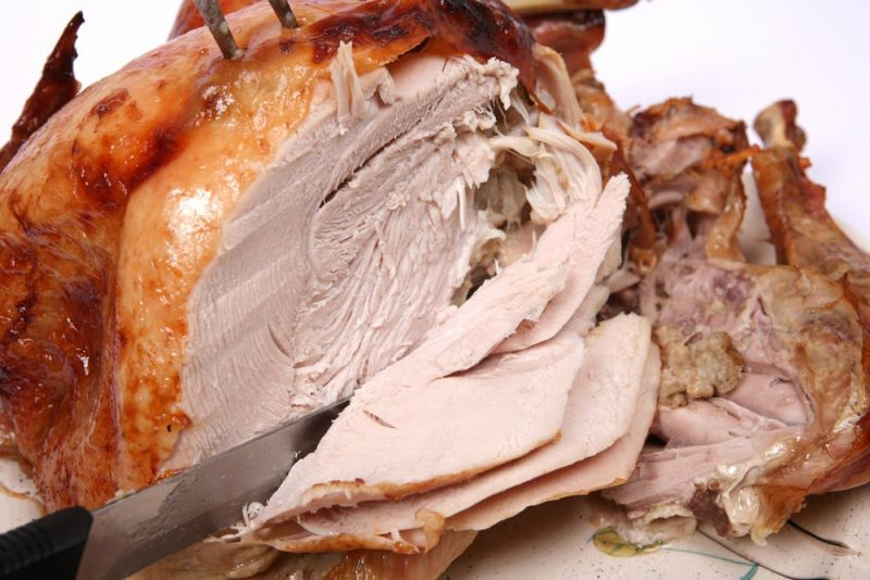 Cooked turkey. Slices of white meat.