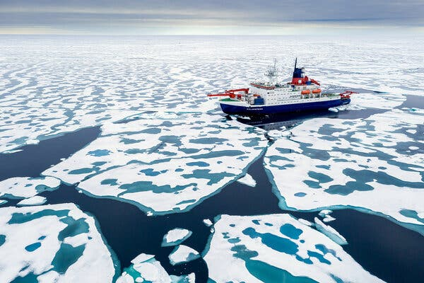 The Polarstern research ship making its way through sea ice in August.