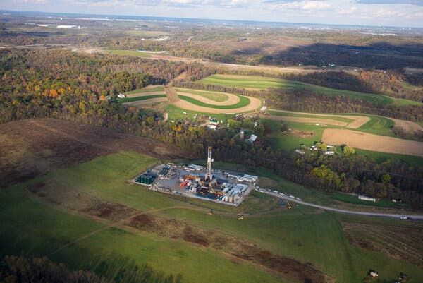 A fracking drilling pad in Robinson Township, Pa., in 2017.