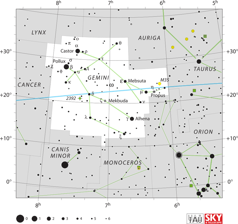 A star map of the constellation Gemini with stars in black on white.