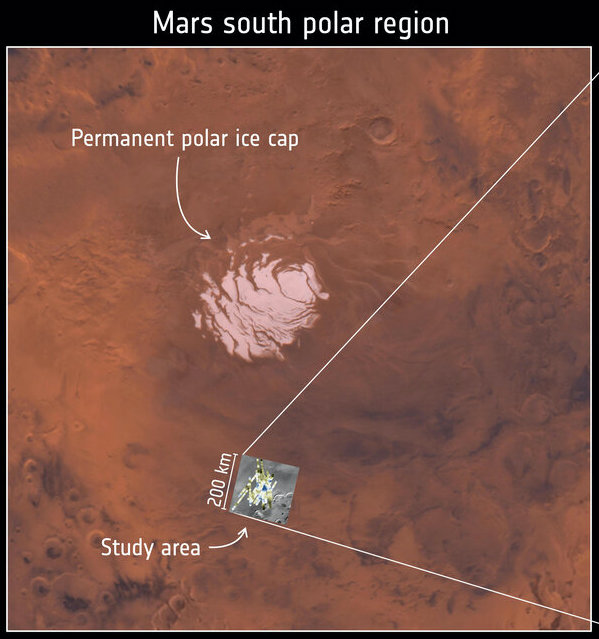 White patch in brownish terrain with small gray square labeled study area.