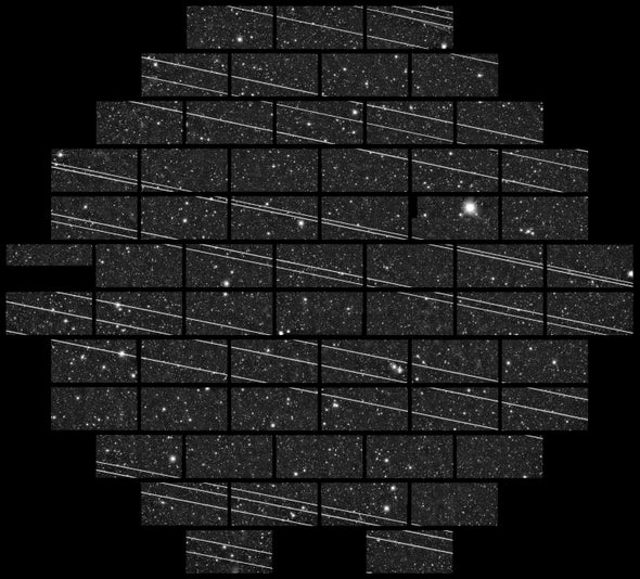 19 thin bright lines crossing a section of starry sky from sideto side.