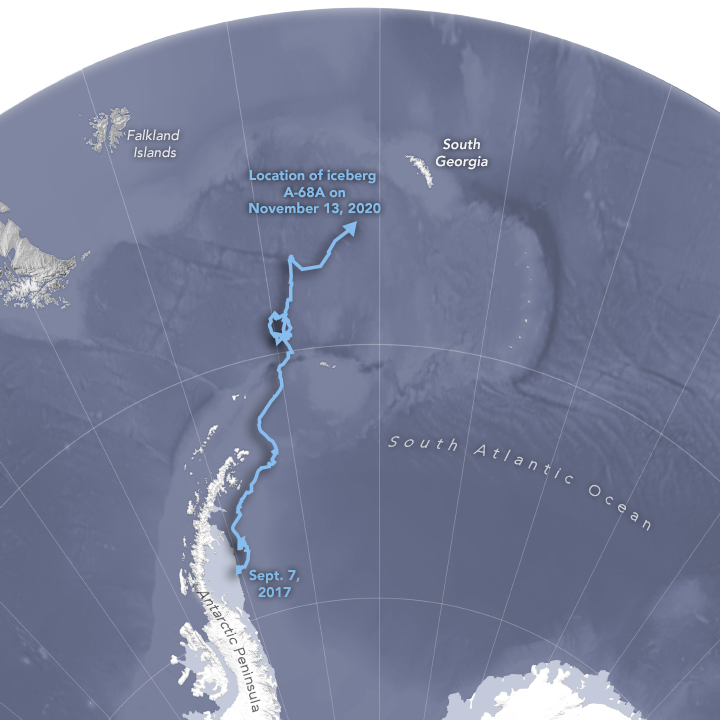 Southern South Atlantic with worm-like blue trail superimposed on it.
