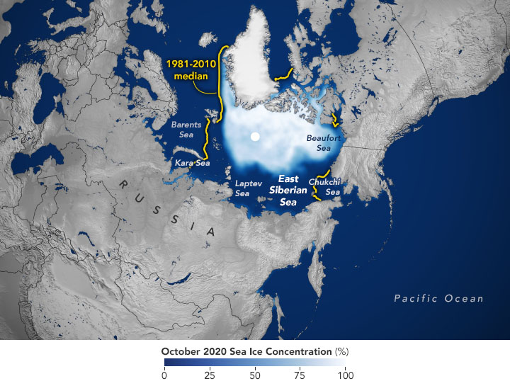 Map of the Arctic Ocean showing sea ice in white.