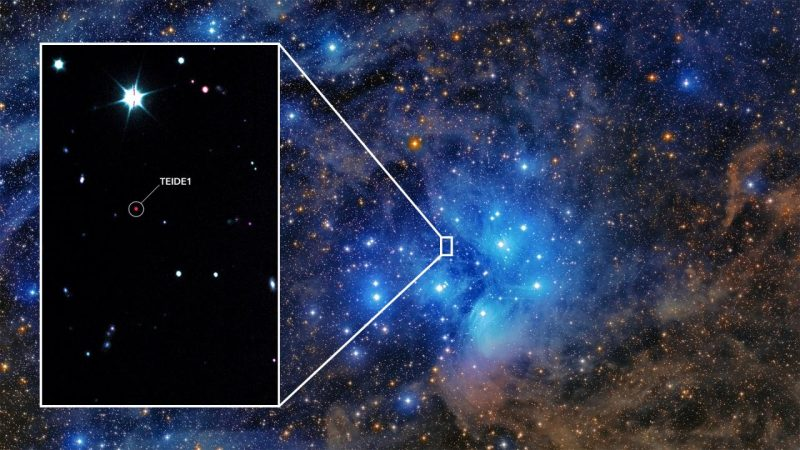 Star cluster photo with zoomed-in image inset on left side.