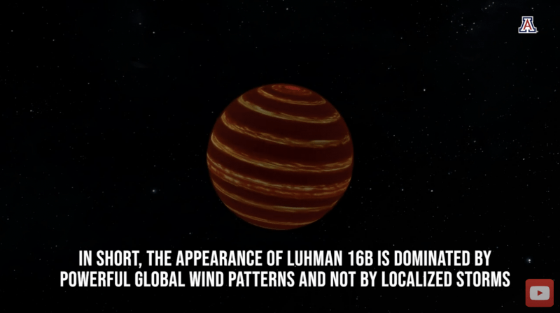 A sphere with brown and black stripes around it, with text annotation.