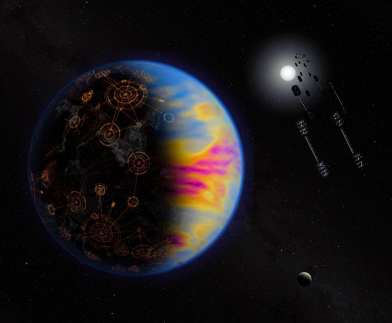 Planet with neon-colored clouds and patterns on the surface, with barbell-like orbiting objects nearby.