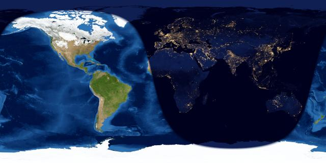 Worldwide map anf day and night sides o Earth one day after new moon.