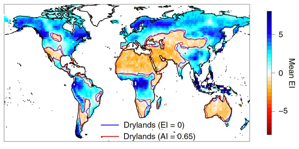 Map showing present-day global drylands using the ecoy-hydrological index and aridity index metrics