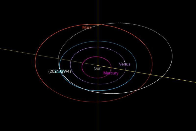 Orbits of planets in the inner solar system with long oval asteroid orbit.