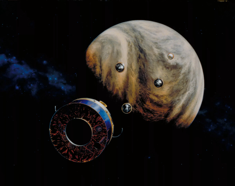 Artist's depiction of 4 small probes approaching the planet Venus.