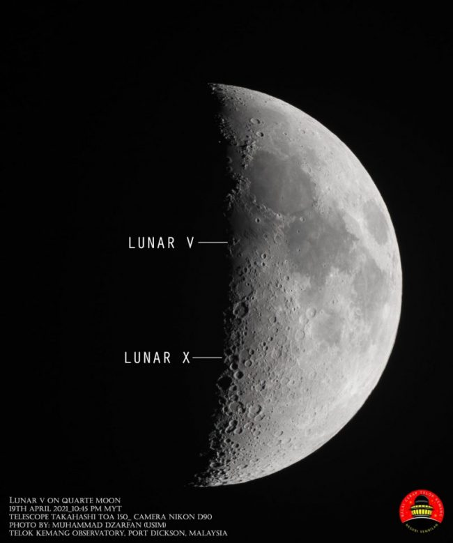 A first quarter moon, with a visible letter X, and a letter V, indicated along the moon's terminator line.