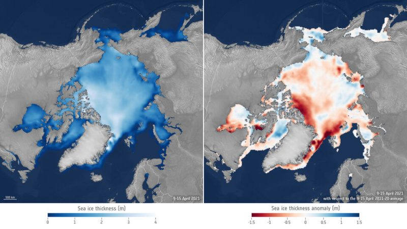 Side-by-side comparison of sea ice thickness from 2021 and previous years.