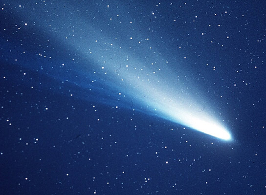 Comet, bright head and cone-shaped tail against star field.