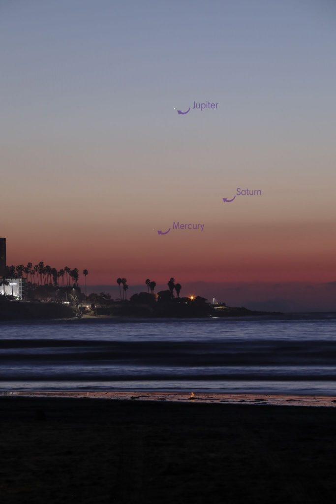 Evening sky with Saturn and Jupiter and Mercury barely visible.