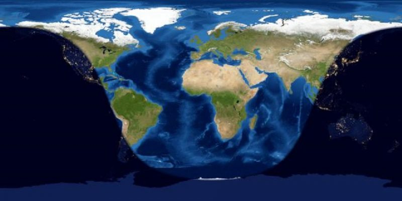 Worldwide map of day and night sides of Earth at mid-eclipse. Night covers Pacific, Pacific Rim, and Australia.