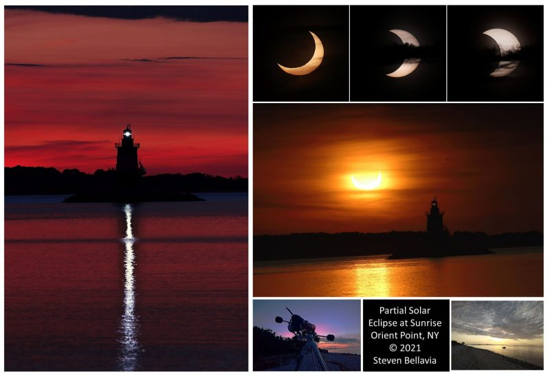 Montage of eclipsed suns and lighthouse.