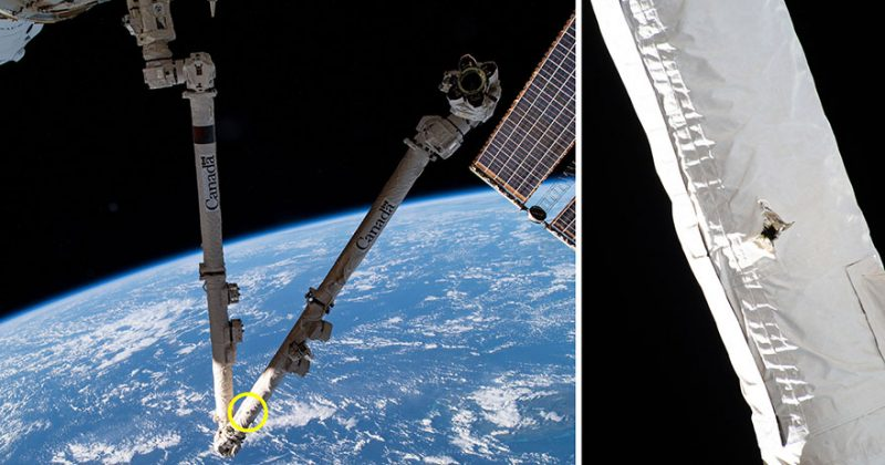 Two images side-by-side of ISS robotic arm to the left and a close-up of the arm with a visible hole - called 'lucky strike' by the Canadian Space Agency - caused by space debris to the right.