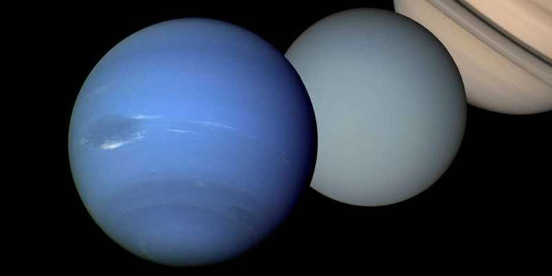 Nearly featureless blue planets, with Saturn, on black background.