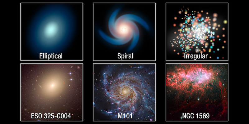 6 images in two rows, 3 in each, with multicolored roundish or spiral forms.