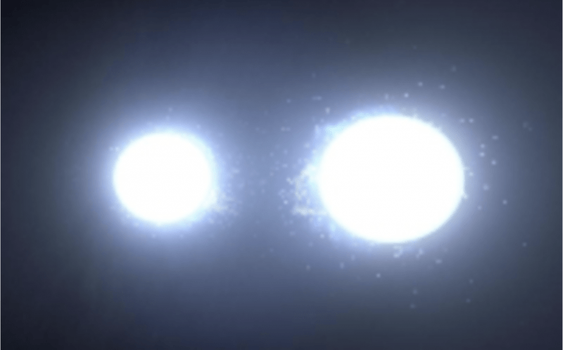 An image of 2 blue-white stars, one slightly larger than the other.