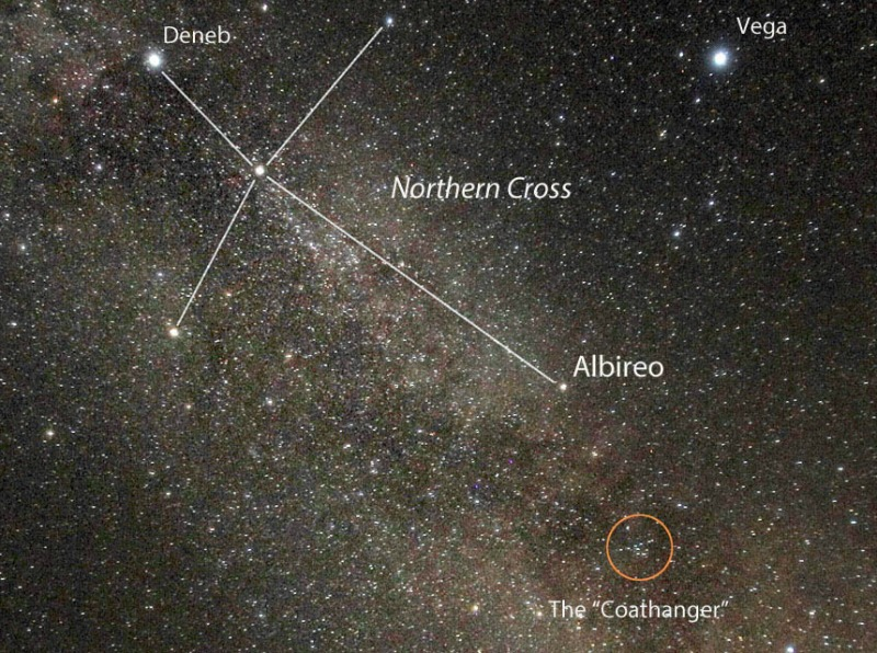 Dense starfield with constellation Northern Cross and Coathanger cluster circled.