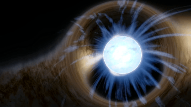 Neutron-star mountains are too small to be seen in this artist's concept of a white star, with curved filaments and a distorted ring around it.