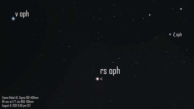 Star field with brightest point labeled RS Oph.